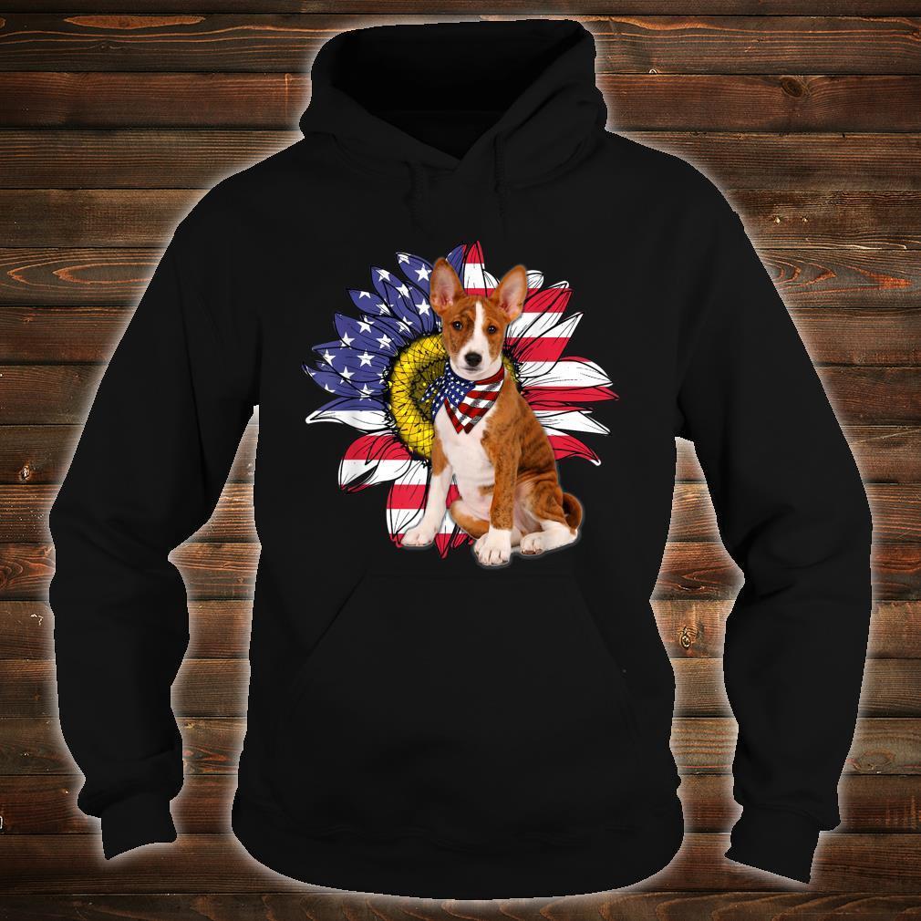 Sunflower American Flag Basenji Dogs Owners Shirt hoodie