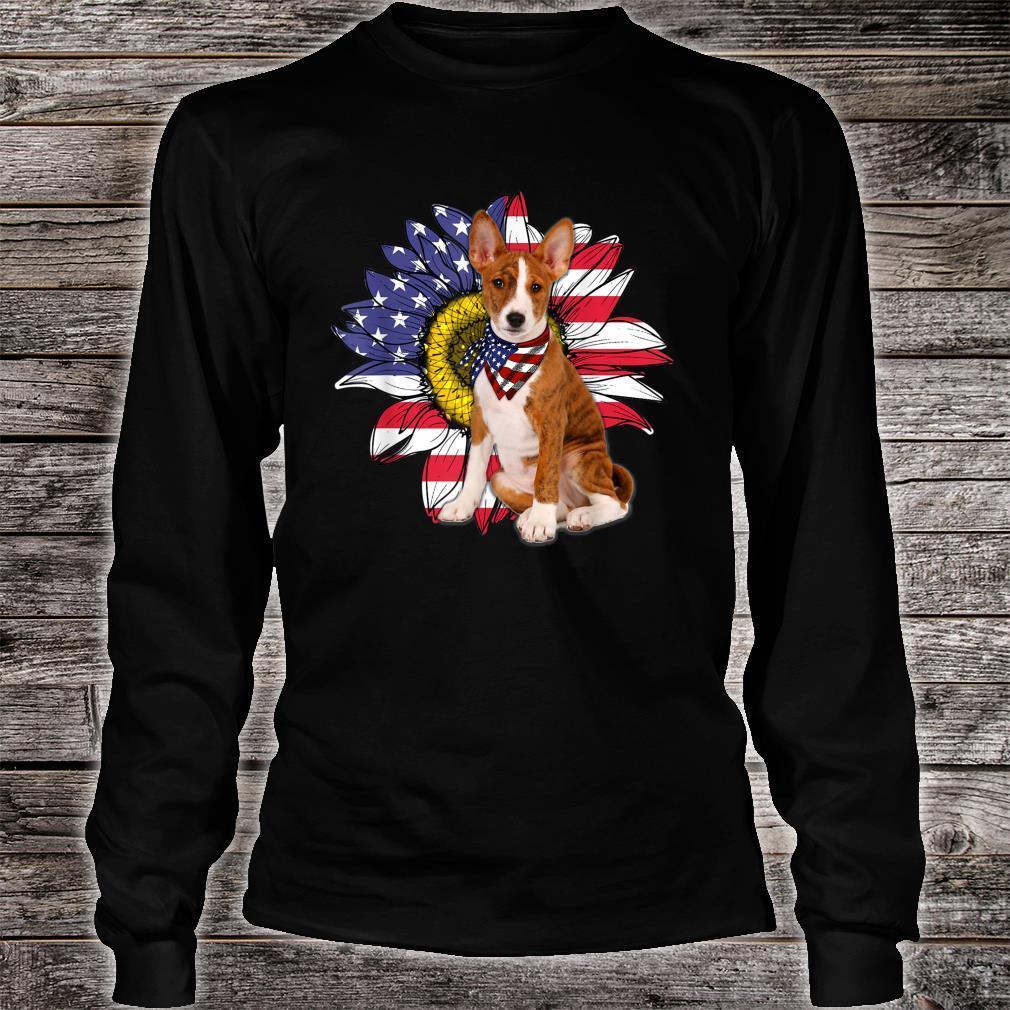 Sunflower American Flag Basenji Dogs Owners Shirt long sleeved