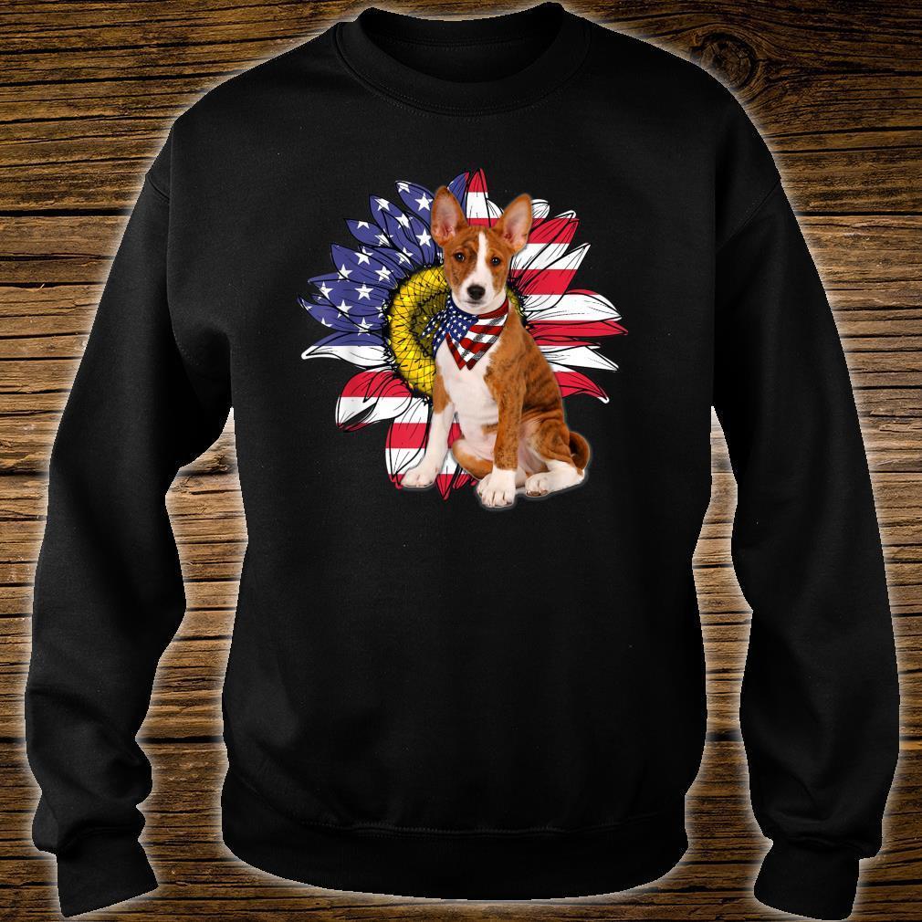Sunflower American Flag Basenji Dogs Owners Shirt sweater