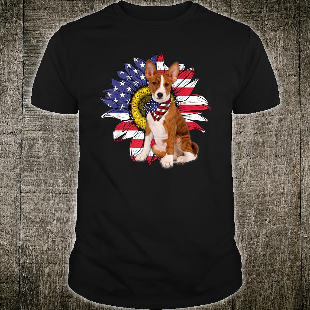 Sunflower American Flag Basenji Dogs Owners Shirt