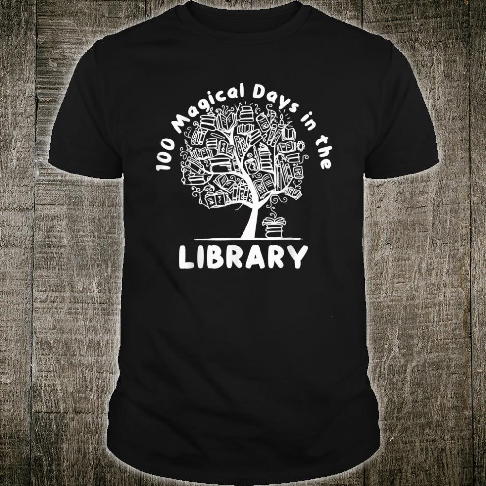 100 Magical Days in The Library Librarian Reading Book Shirt