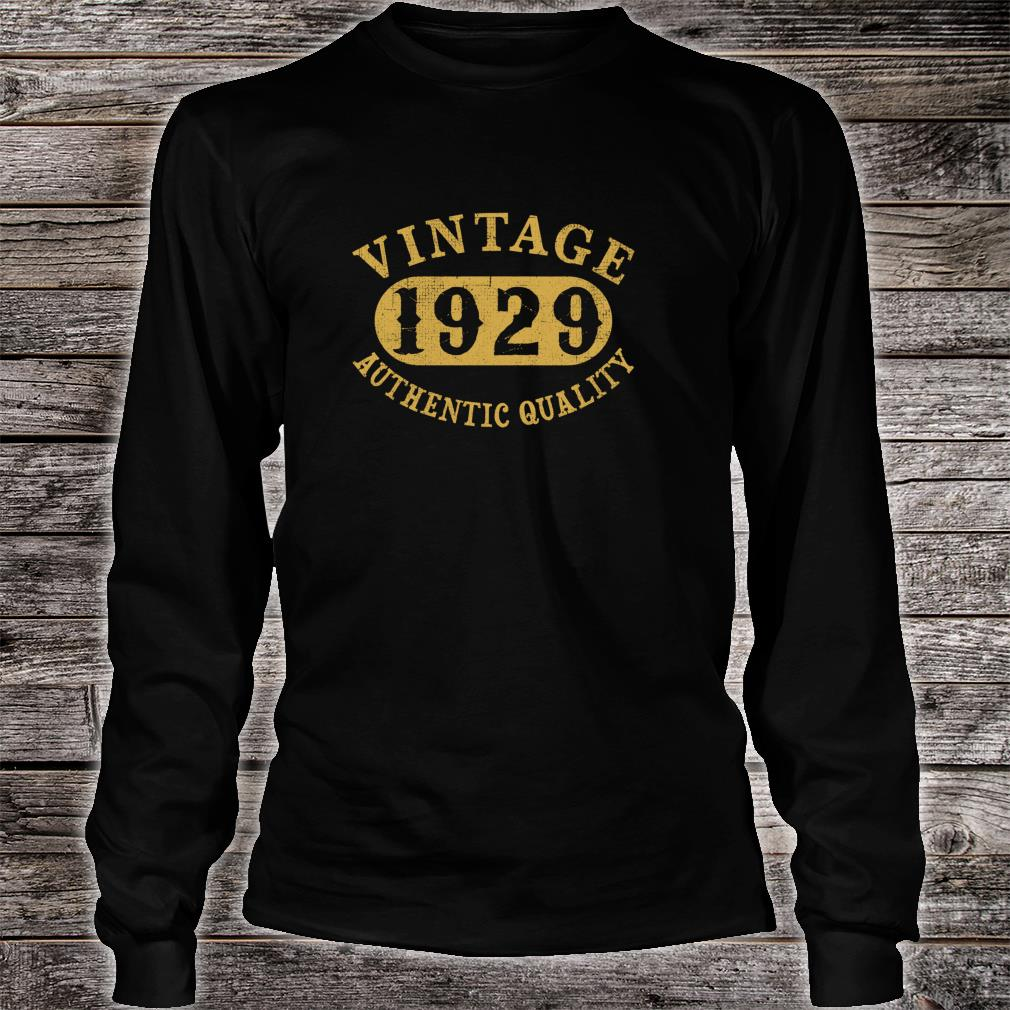1929 Vintage 90 years old 90th Birthday Shirt long sleeved