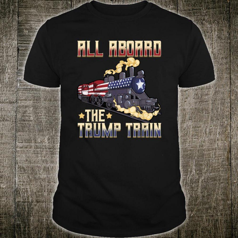All Aboard the Trump Train 2020 American Flag Shirt