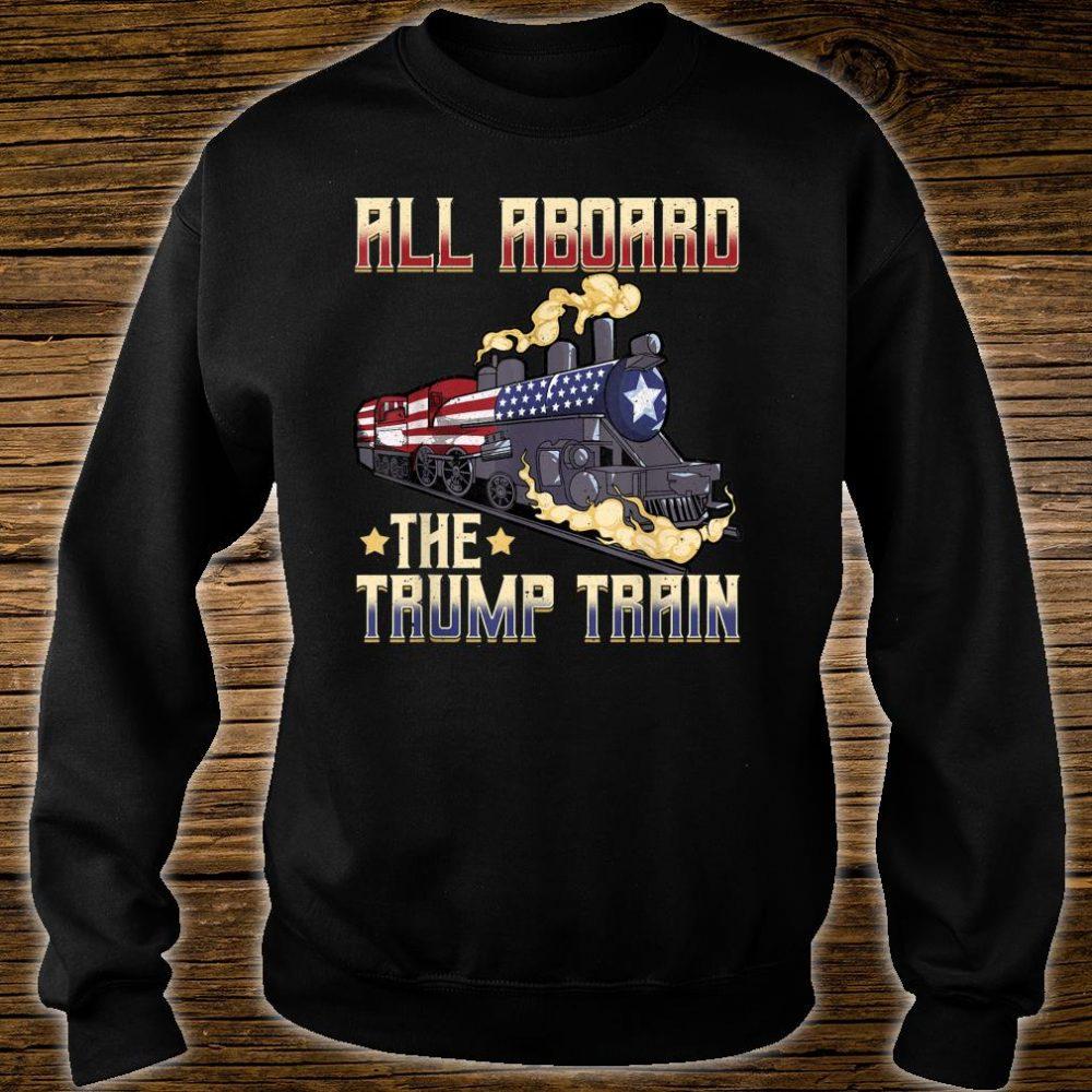 All Aboard the Trump Train 2020 American Flag Shirt sweater