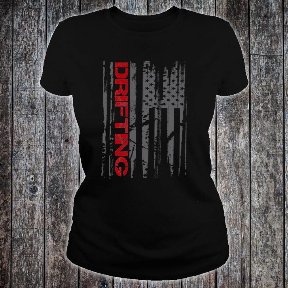 American Flag Car Racing Drifting Shirt ladies tee