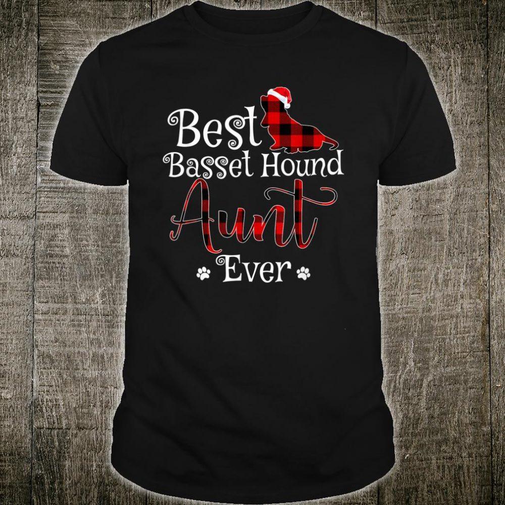 Best Basset Hound Aunt Ever plaid Christmas Shirt