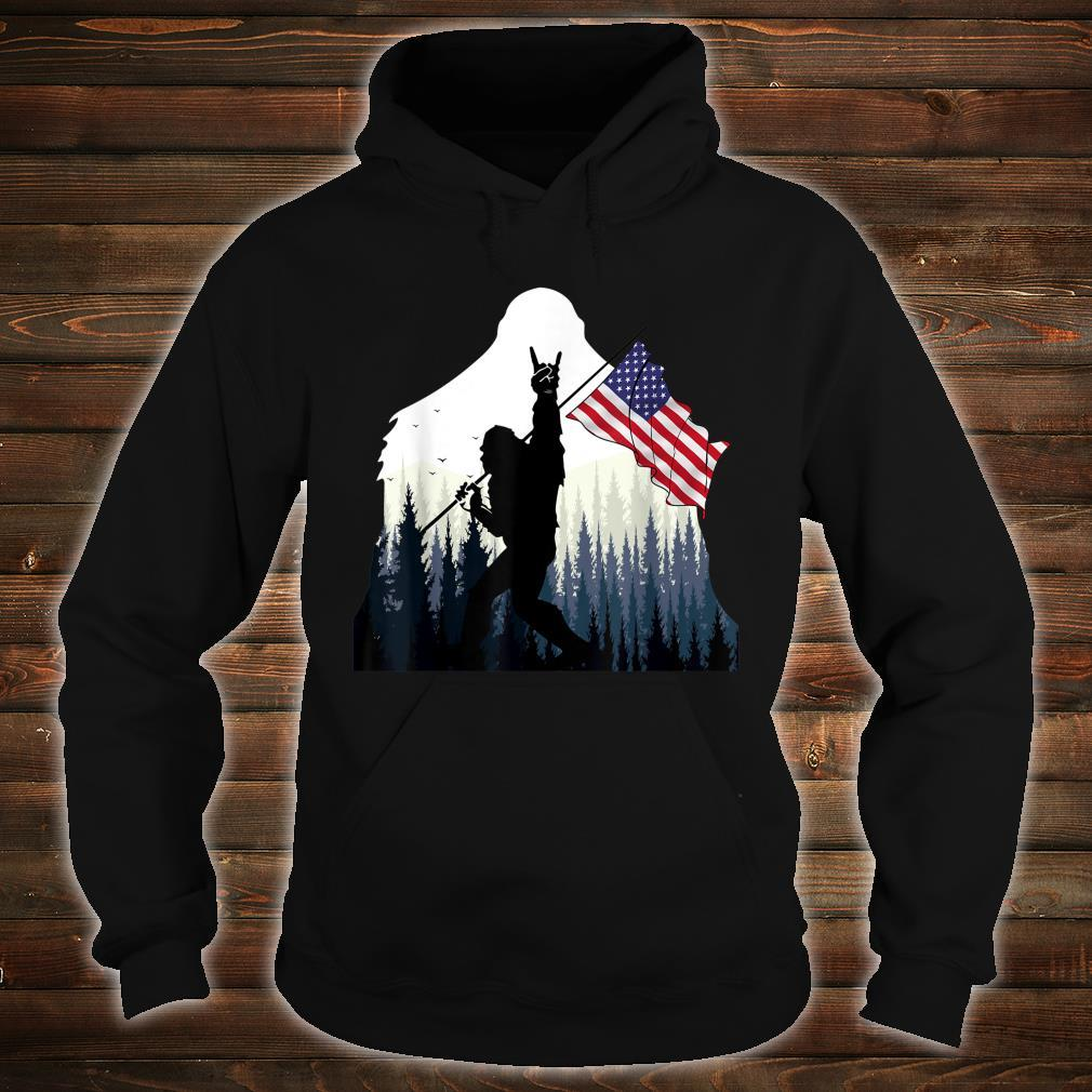 Bigfoot Rock and Roll USA Flag for Sasquatch Believers Shirt hoodie