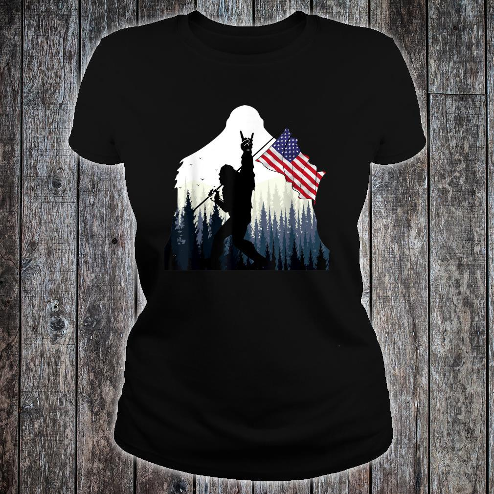 Bigfoot Rock and Roll USA Flag for Sasquatch Believers Shirt ladies tee