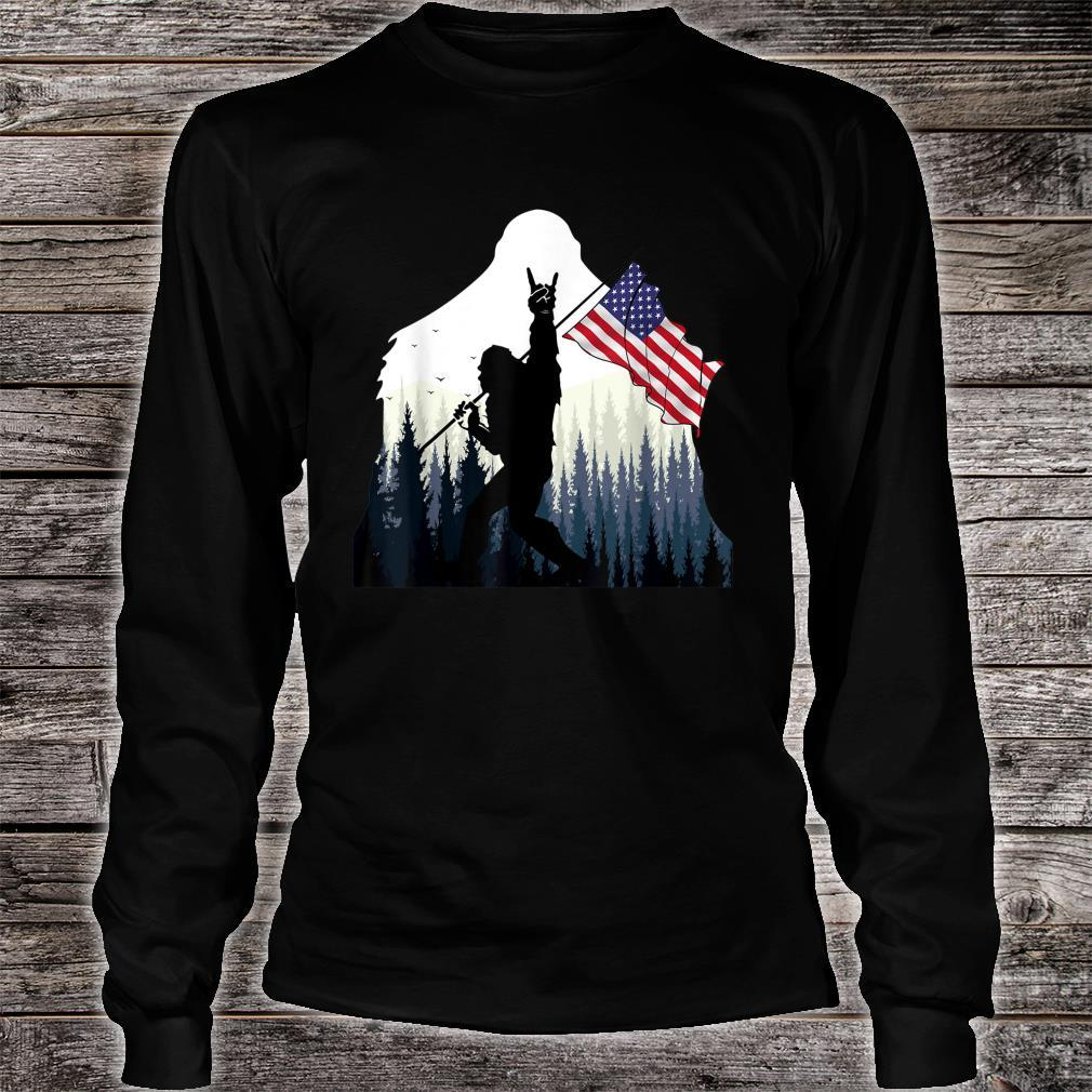 Bigfoot Rock and Roll USA Flag for Sasquatch Believers Shirt long sleeved