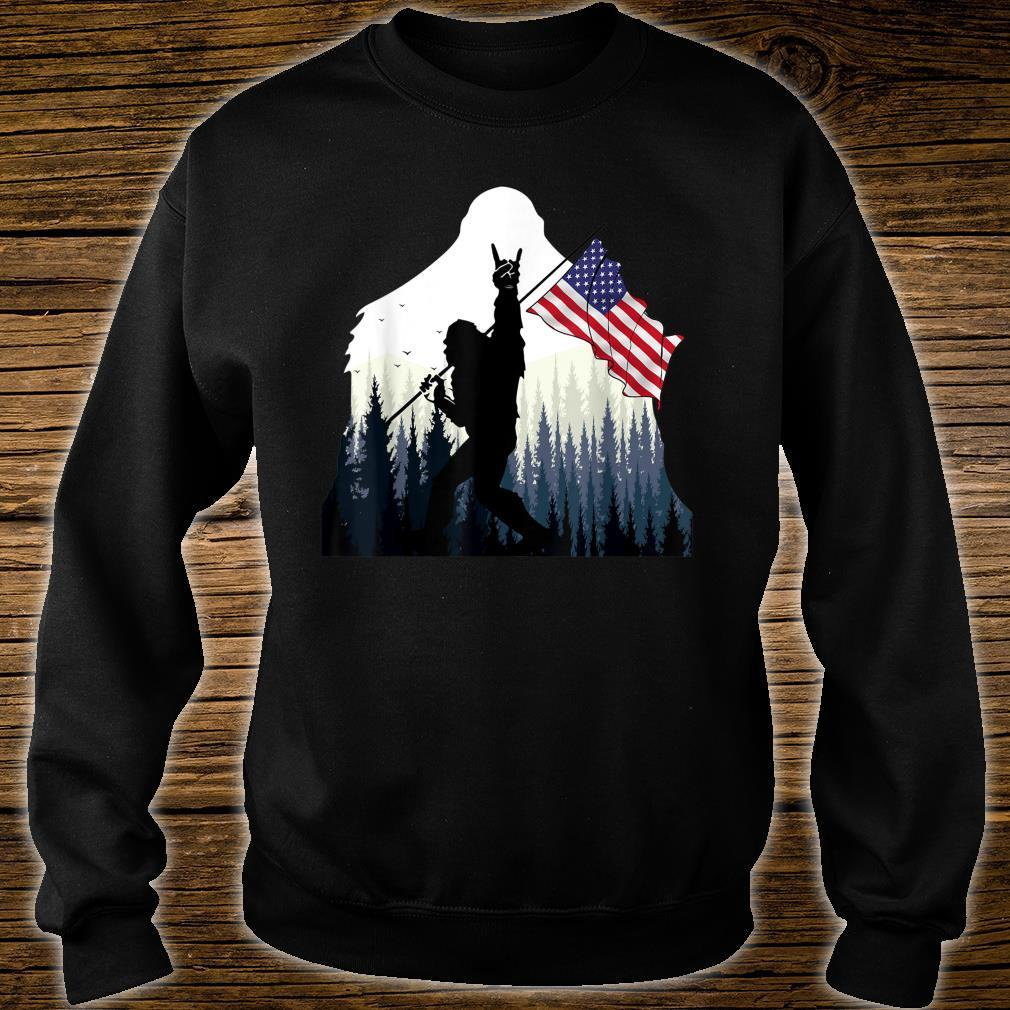 Bigfoot Rock and Roll USA Flag for Sasquatch Believers Shirt sweater