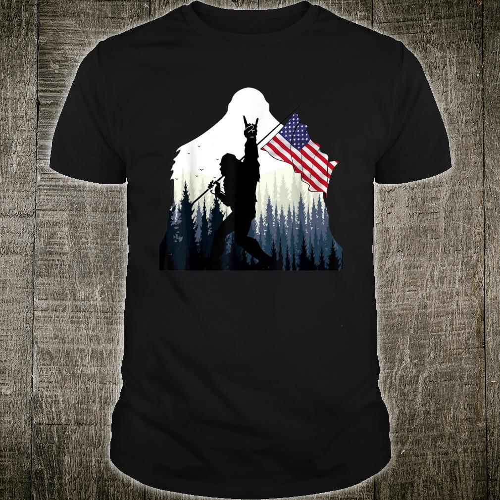 Bigfoot Rock and Roll USA Flag for Sasquatch Believers Shirt