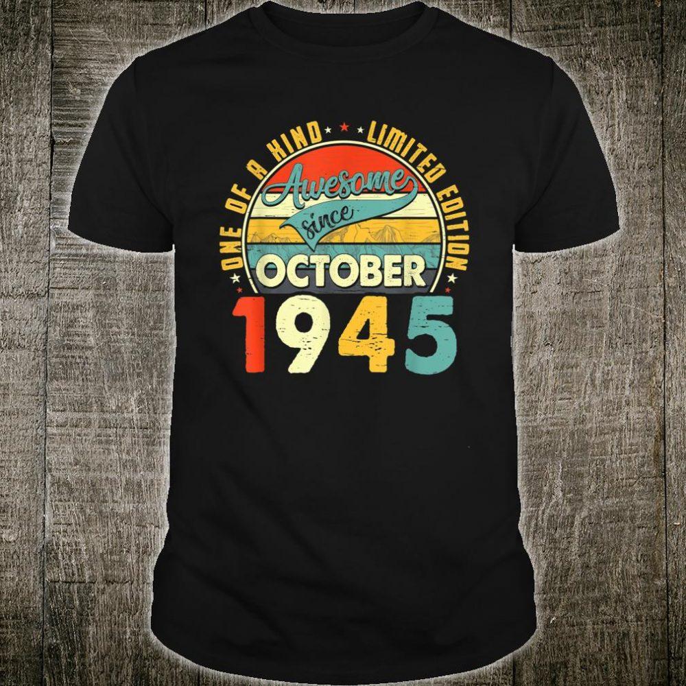 Born In October 1945 75th Birthday Retro 75 Years Old Shirt