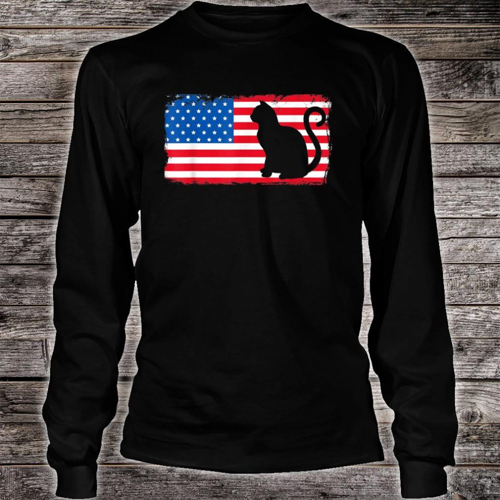 Cat Red White Blue Patriotic Shirt long sleeved