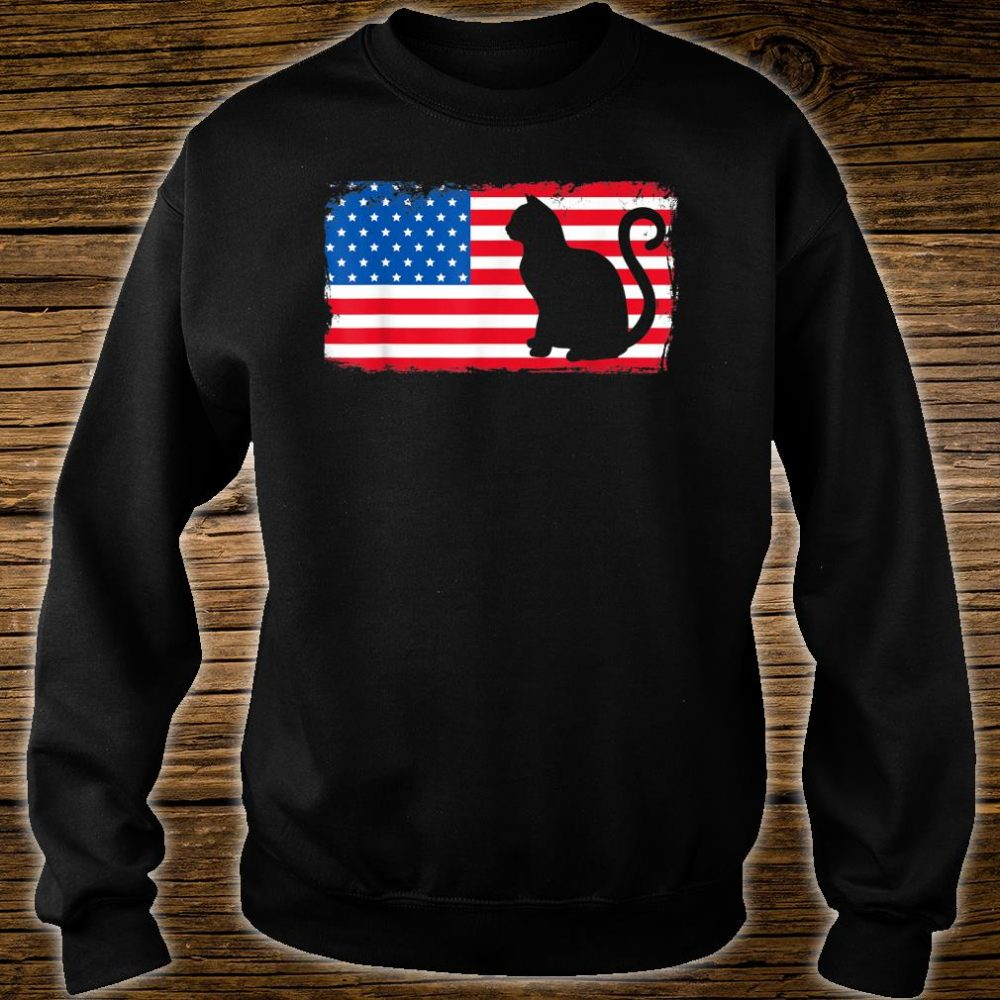 Cat Red White Blue Patriotic Shirt sweater