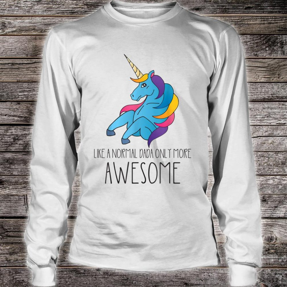 Dadacorn Unicorn Dad and Baby Father Day Papa Him Shirt long sleeved