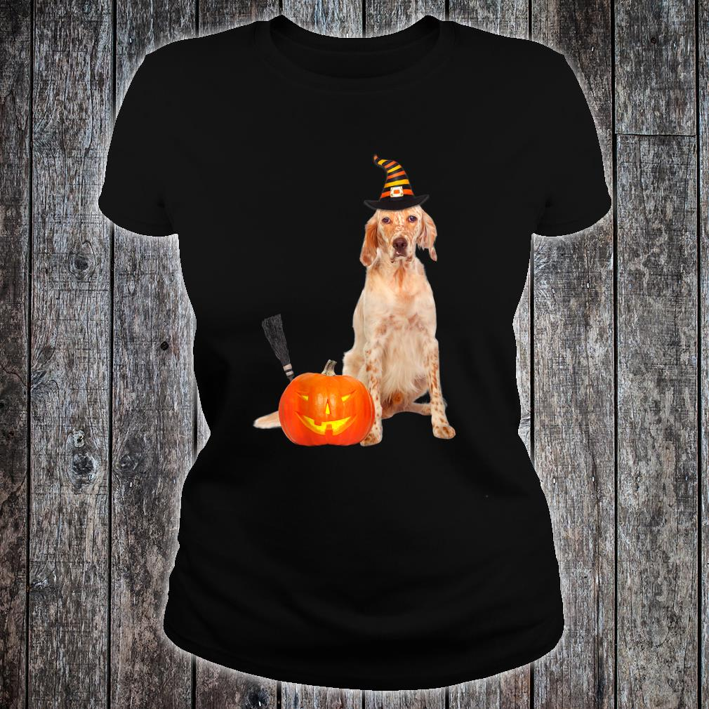 English Setter Witch Hat Halloween Dog Shirt ladies tee