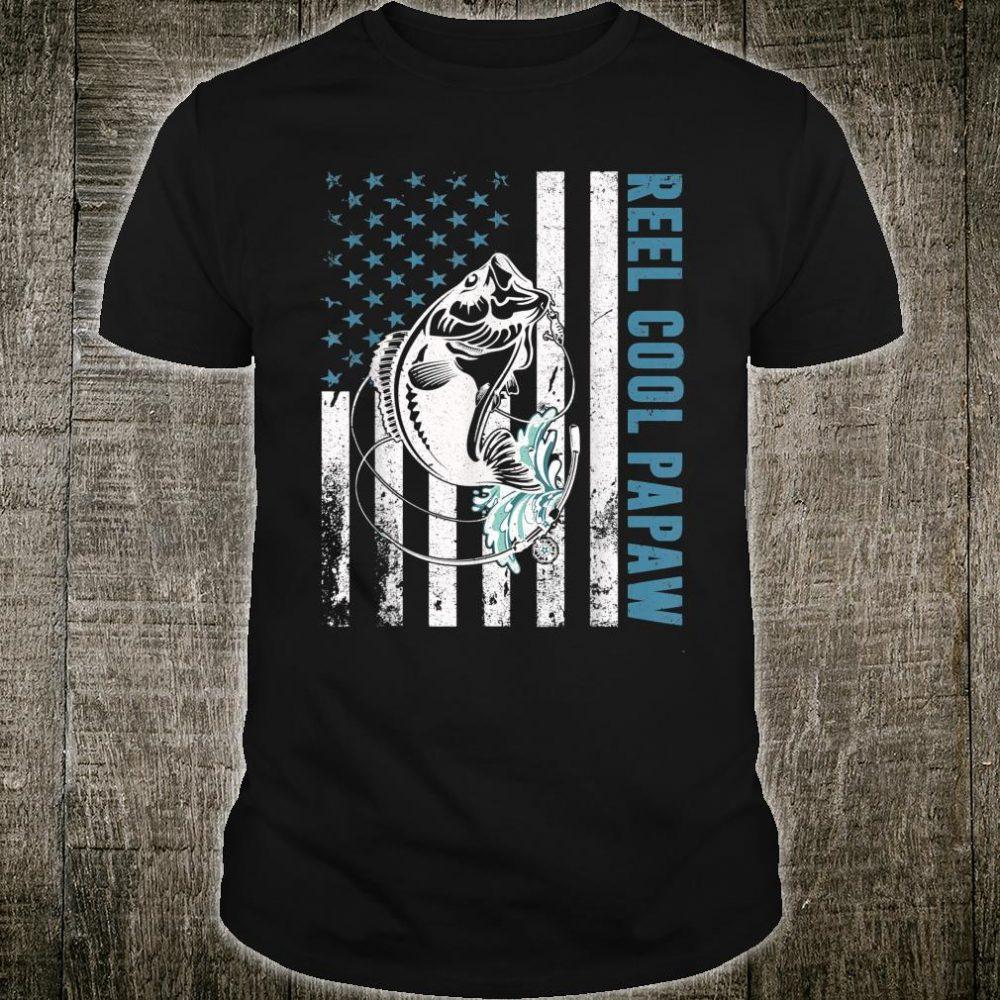 Fishing Lovers Gifts Reel Cool Papaw American Flag Shirt