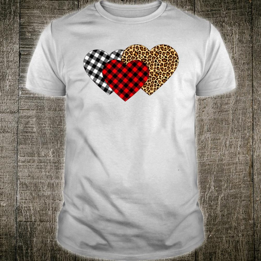 Leopard Heart Buffalo Plaid Heart Valentine Day Shirt