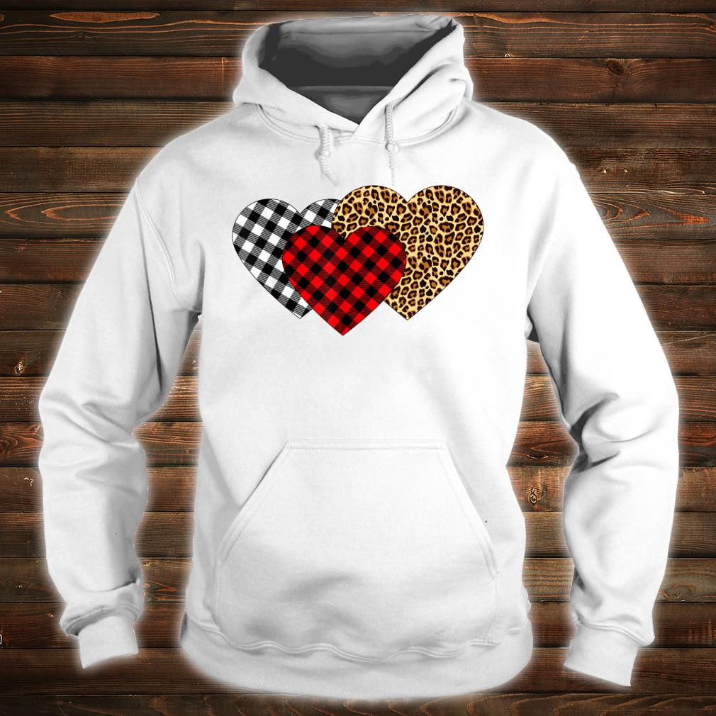 Leopard Heart Buffalo Plaid Heart Valentine Day Shirt hoodie