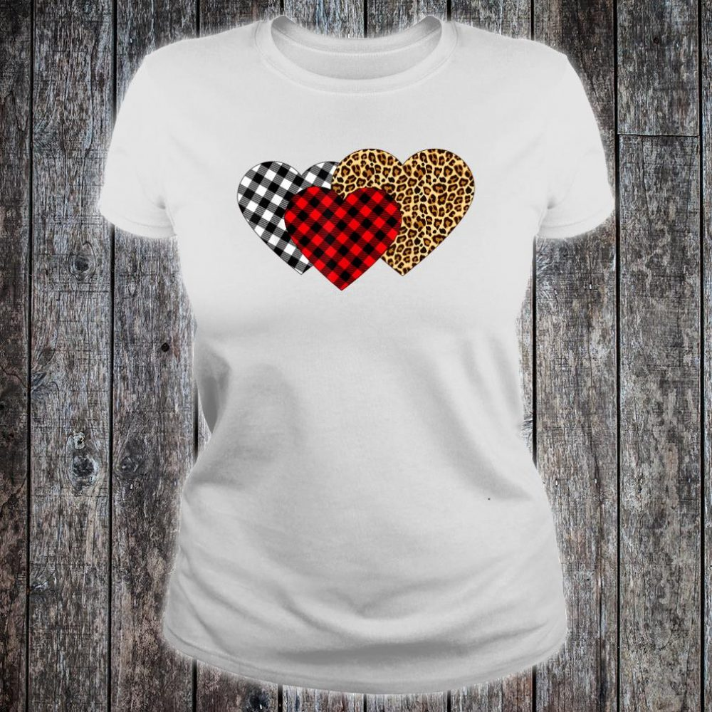 Leopard Heart Buffalo Plaid Heart Valentine Day Shirt ladies tee