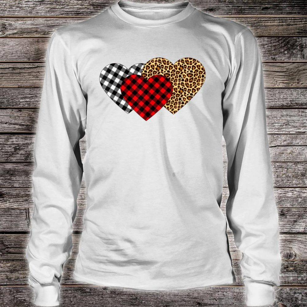 Leopard Heart Buffalo Plaid Heart Valentine Day Shirt long sleeved