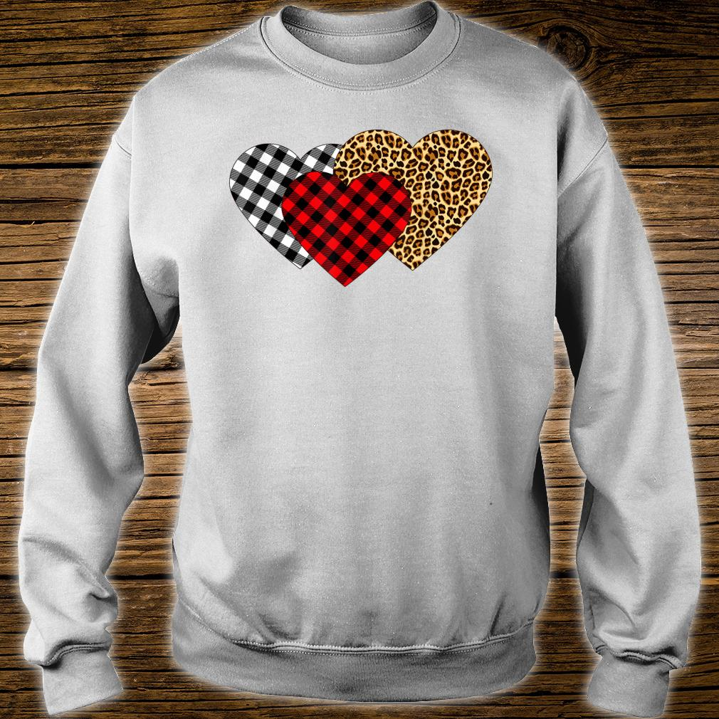 Leopard Heart Buffalo Plaid Heart Valentine Day Shirt sweater