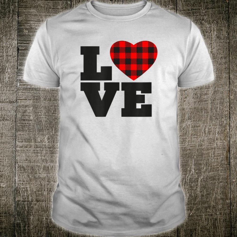 Love Buffalo Plaid Printed Heart Shirt