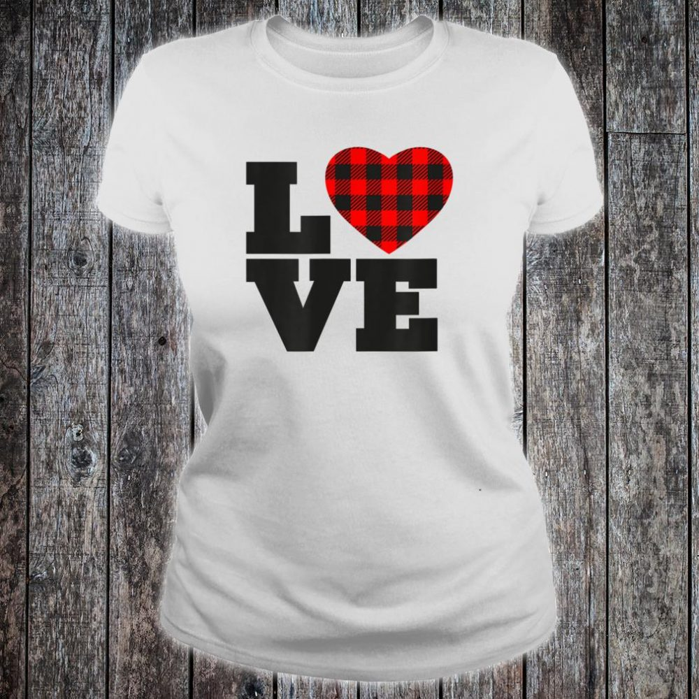 Love Buffalo Plaid Printed Heart Shirt ladies tee