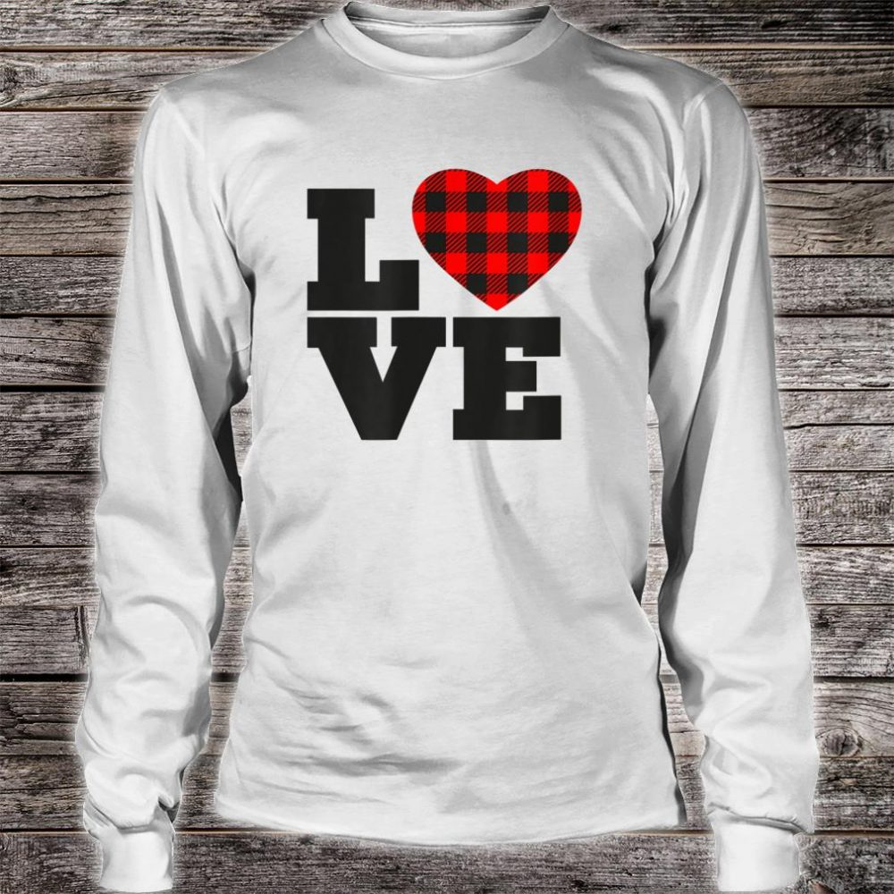 Love Buffalo Plaid Printed Heart Shirt long sleeved