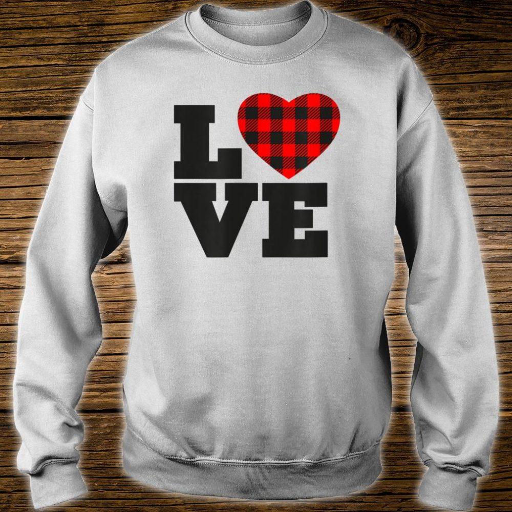 Love Buffalo Plaid Printed Heart Shirt sweater