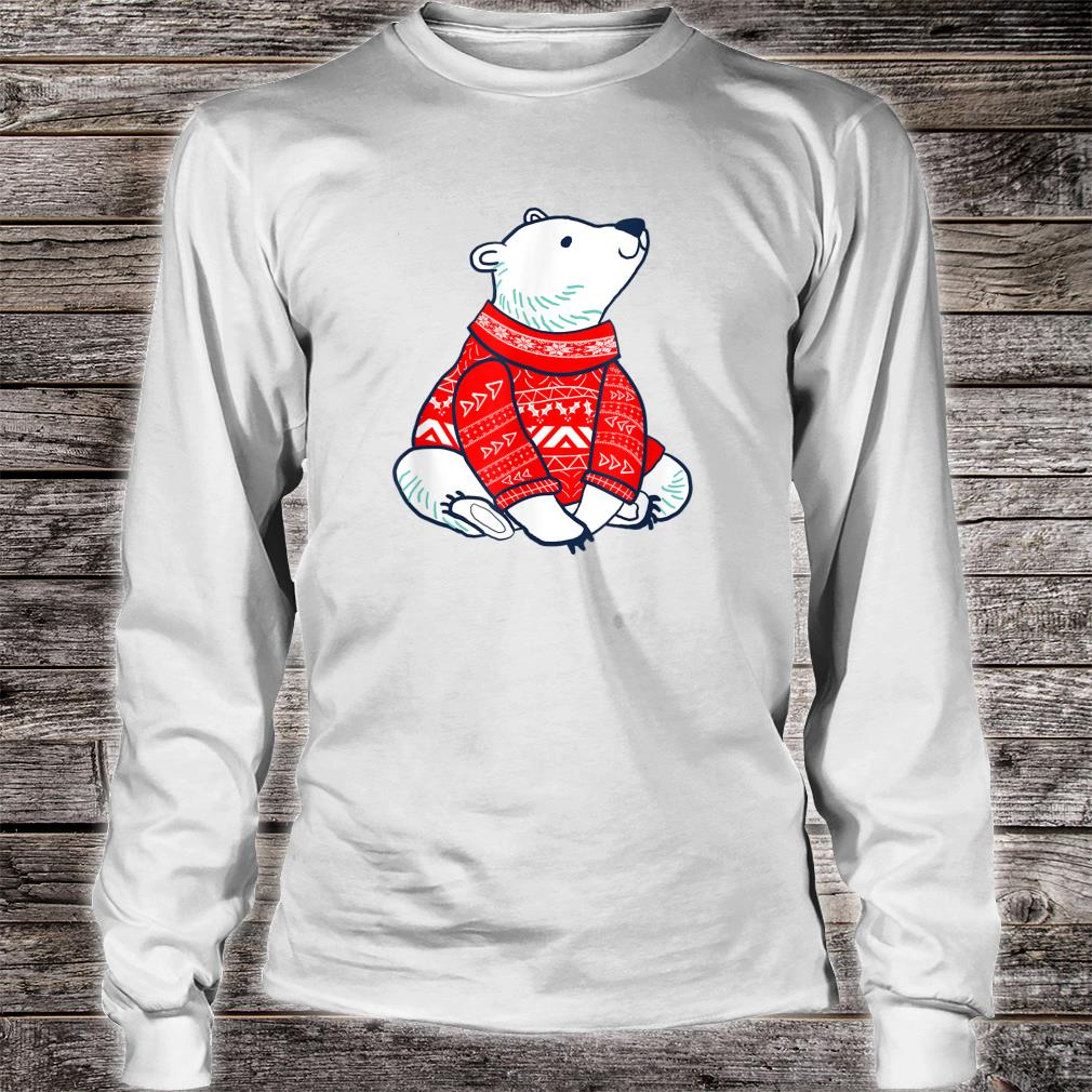 Polar Bear Wearing Ugly Sweater Winter Christmas Shirt long sleeved