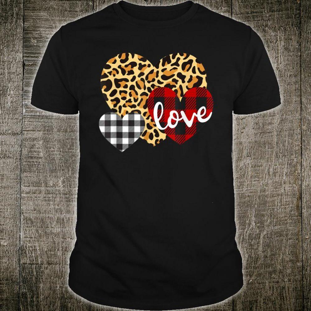 Three Hearts Leopard Buffalo Plaid for Women Valentine's Day Shirt