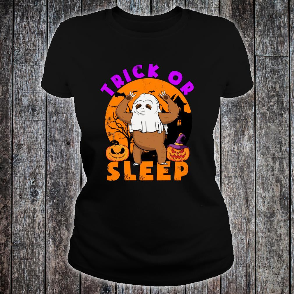 Trick or Sleep Pun Sloth Halloween Shirt ladies tee