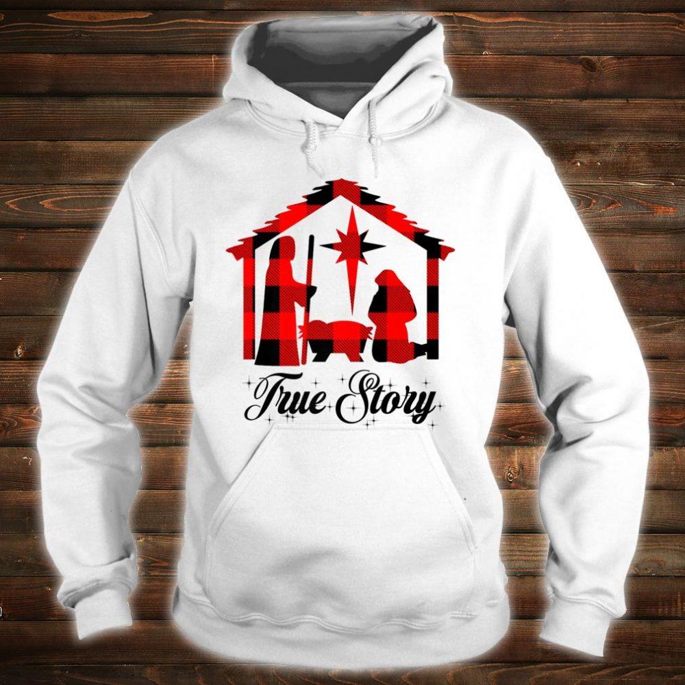 True Story Christmas Manger Nativity Scene Buffalo Plaid Shirt hoodie