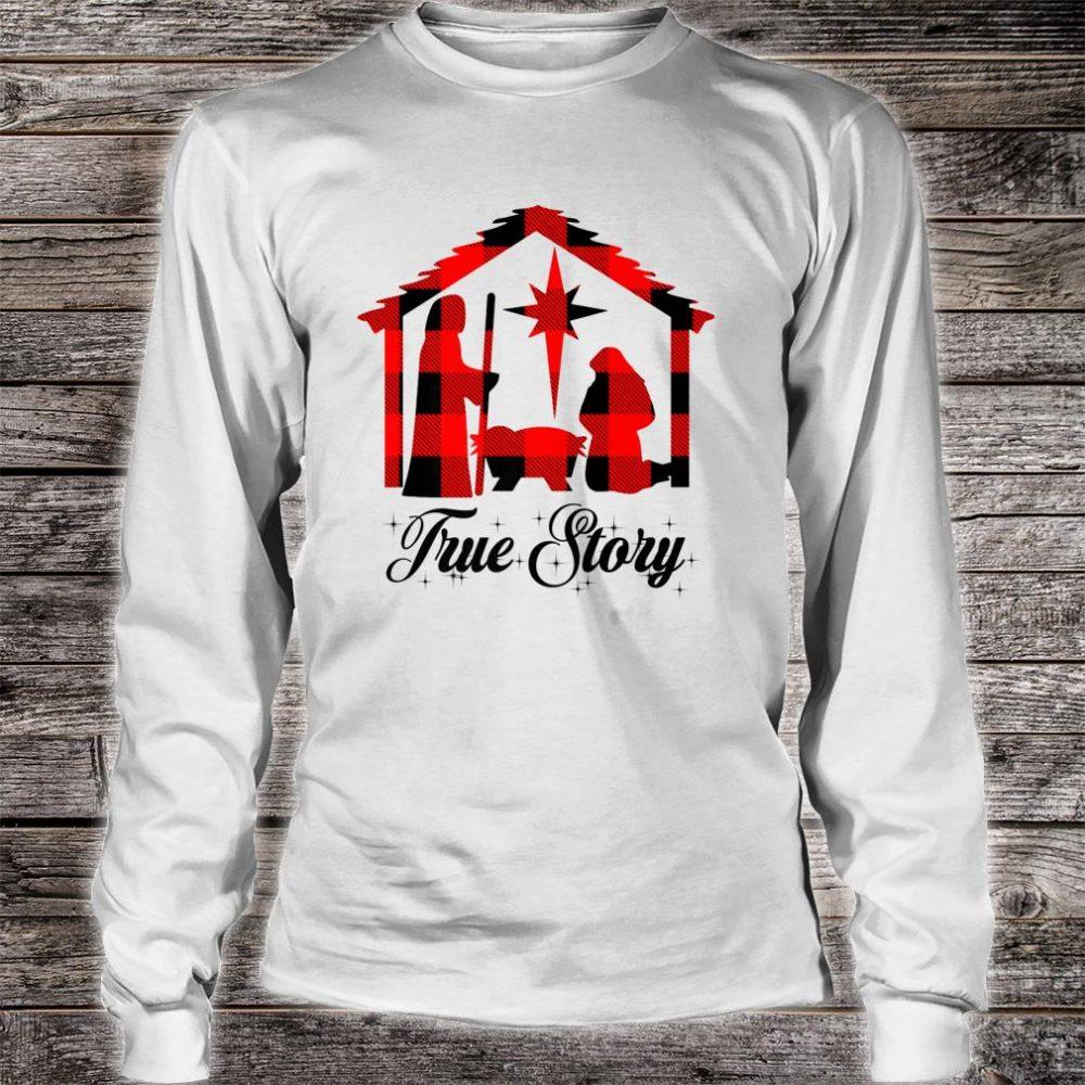 True Story Christmas Manger Nativity Scene Buffalo Plaid Shirt long sleeved
