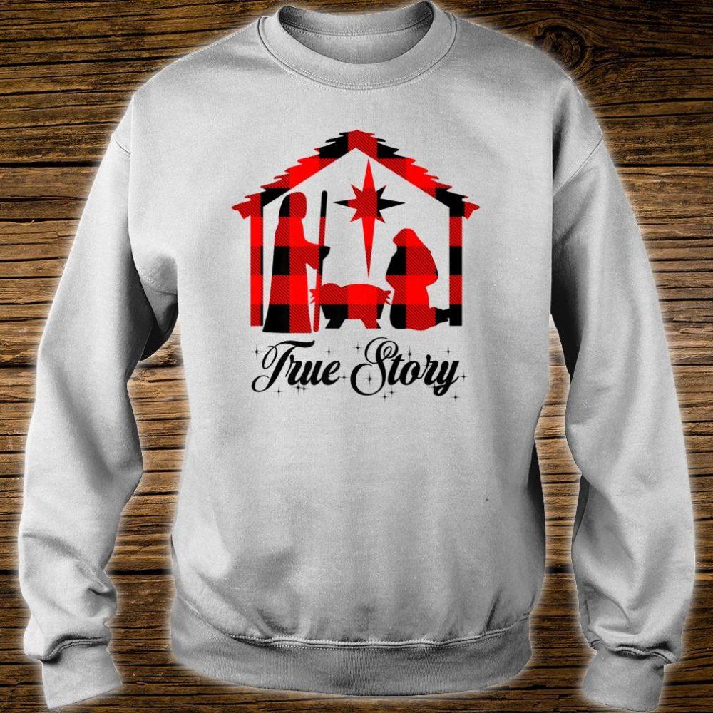True Story Christmas Manger Nativity Scene Buffalo Plaid Shirt sweater