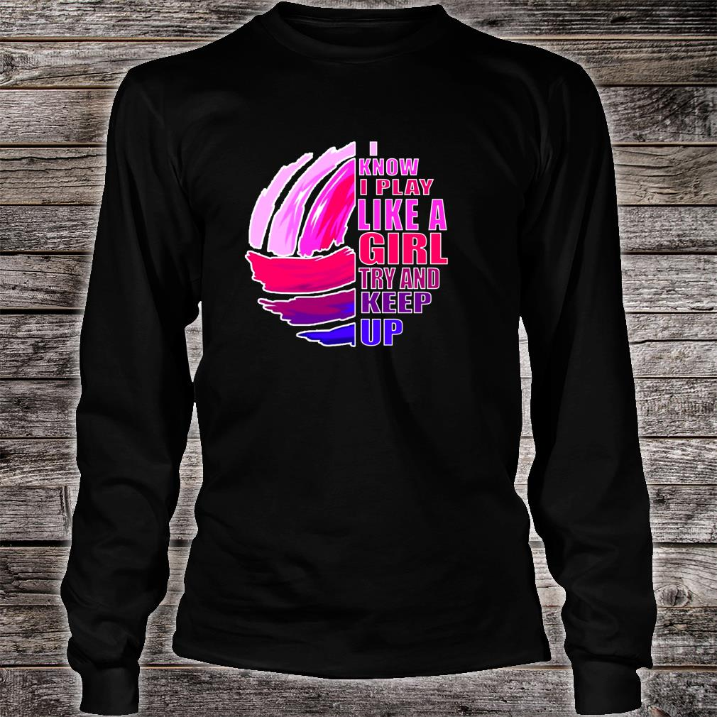 Volleyball Play Like A Girl Pink & Purple Shirt Long sleeved