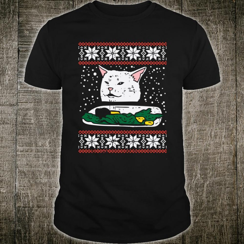 Yelling At A Confused Cat Christmas Sweater Meme Shirt